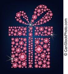 fait, fond, cadeau, haut, noir, lot, diamants, rubis, présent