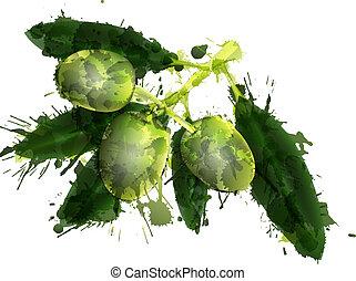 fait, fond, coloré, arbre, eclabousse, branche, olive, blanc