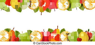 fait, fruit., juteux, vector., cadre, frais