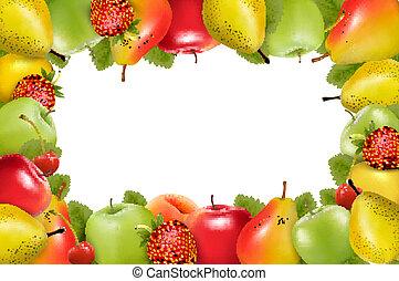 fait, fruit., juteux, vector., frais, cadre