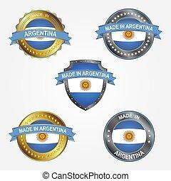 fait, illustration, étiquette, vecteur, conception, argentina.