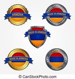 fait, illustration, étiquette, vecteur, conception, armenia.