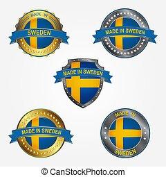 fait, illustration, étiquette, vecteur, conception, sweden.