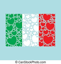 fait, italie, flag., drapeau, hearts., italien