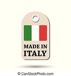 fait, italie, flag., pendre, illustration, arrière-plan., vecteur, blanc, étiquette