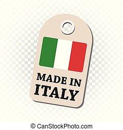 fait, italie, flag., pendre, isolé, illustration, arrière-plan., vecteur, étiquette