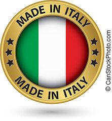 fait, italie, or, illustration, vecteur, étiquette