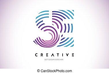 fait, lignes pourpres, chaîne, lines., lettre, design., logo, icône, circulaire