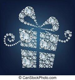 fait, lot, cadeau, haut, illustration, arrière-plan noir, diamants, présent