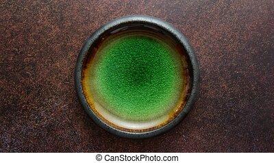 fait main, bol, poterie, rustique, glaçage, brun, vert