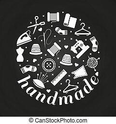 fait main, concept, travail manuel, ou, rond