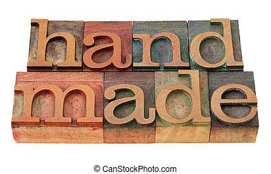 fait main, mot, dans, letterpress, type