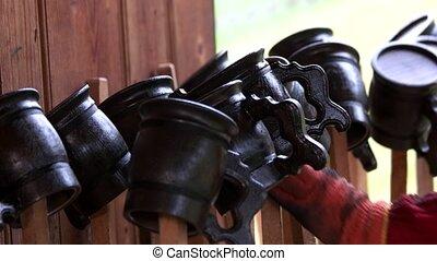 fait main, production., grandes tasses, bois