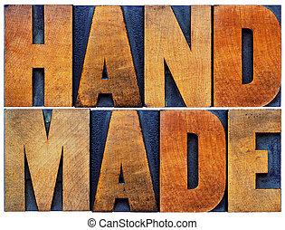 fait main, résumé, bois, mot, type