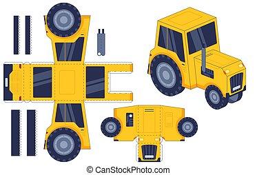 fait main, vecteur, toy., printable, activité, 3d, ferme, modèle, tracteur, worksheet., colle, jeu, gosses, agricole, ensemble, machine., papier, couper papier