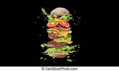 fait maison, en mouvement, ingredients., voler, hamburger
