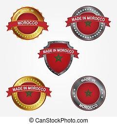 fait, morocco., illustration, étiquette, vecteur, conception