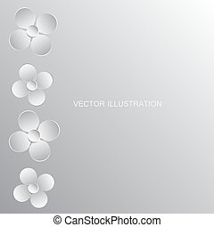 fait, paper., illustration, vecteur, fond, fleurs