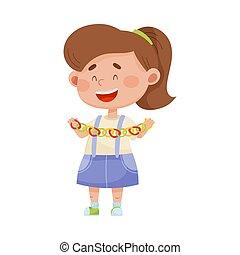 fait, papier, tenue, girl, vecteur, illustration, sourire, guirlande