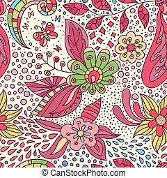 fait, pattern., main, vecteur, fond, floral