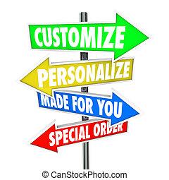 fait, personnalisez, personnaliser, signes, vous, ordre, spécial