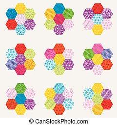 fait, pièces, patchwork, modèle, hexagonal, fleurs