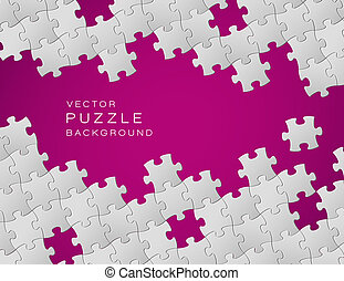 fait, pourpre, morceaux puzzle, vecteur, fond, blanc