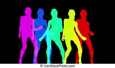 fait, résumé, disco, silhouettes, danseur, sexy