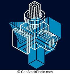 fait, résumé, ingénierie, forme, cubes, vecteur, forms., utilisation, géométrique, 3d