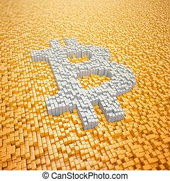 fait, render, symbole, -, bitcoin, cubes, pixelated, orange, 3d
