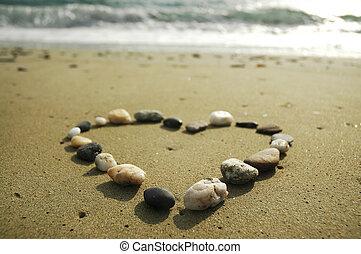 fait, sable, coeur, pierres