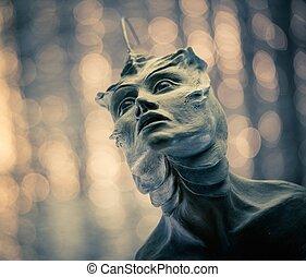 fait, sculpture, argile, monstre