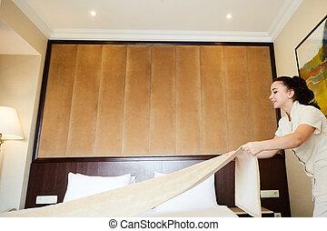 fait, service., room., hôtel, fabrication lit