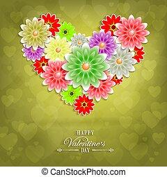 fait, silhouette, arrière-plan vert, cœurs, fleurs