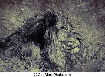 fait, tablette, sépia, illustration, lion, numérique