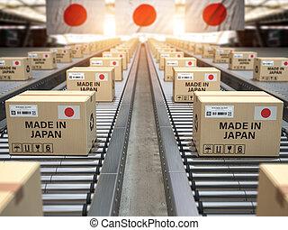 fait, texte chinois, conveyor., boîtes, drapeau, japon, carton, japan., rouleau