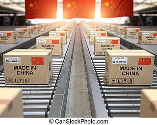 fait, texte chinois, conveyor., china., drapeau, boîtes, porcelaine, carton, rouleau