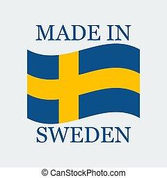 fait, texte, drapeau, illustration, suède, vecteur, sweden.