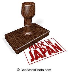 fait, timbre, -, caoutchouc, japon, 3d