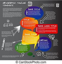 fait, timeline, sombre, infographic, parole, gabarit, rapport, bulles