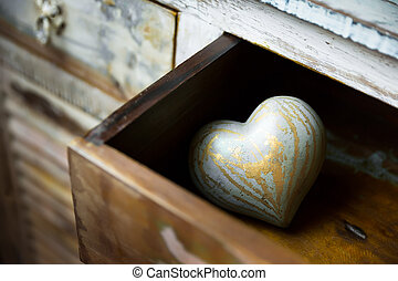 fait, tiroir, valentin, bois, ??of, cœurs, jour
