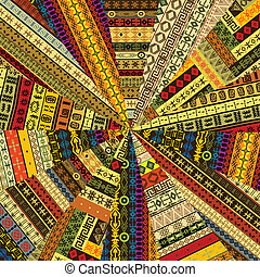 fait, tissu, patchwork, witf, motifs, ethnique, sunburst