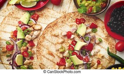 fait, tranches, sain, grand, maïs, avocat, tortillas,...