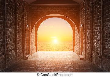 fait, tunnel, coucher soleil, rouges, walkway, brique, ou, levers de soleil, vue