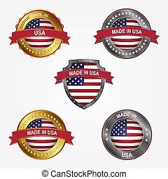 fait, uni, illustration, étiquette, etats, america., vecteur, conception