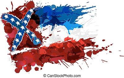 fait, usa, coloré, drapeau, eclabousse, mississippi
