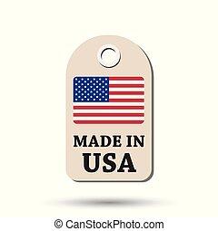 fait, usa, flag., pendre, illustration, arrière-plan., vecteur, blanc, étiquette