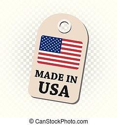 fait, usa, flag., pendre, isolé, illustration, arrière-plan., vecteur, étiquette