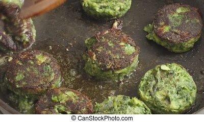 fait, végétarien, côtelettes, vert, frit, légumes, moule