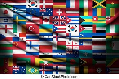 fait, vector., grand, drapeau, fond, pays, mondiale, flags.